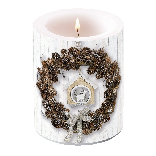 świeca dekoracyjna - Pine Cone Wreath