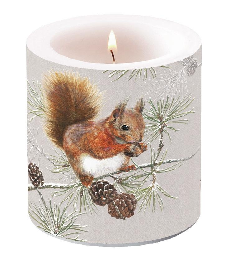 Decorative candle small - Squirrel In Winter