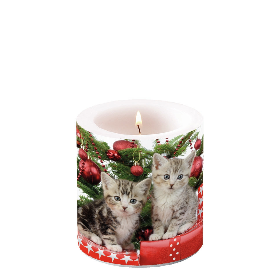 Decorative candle small - Christmas Kitten