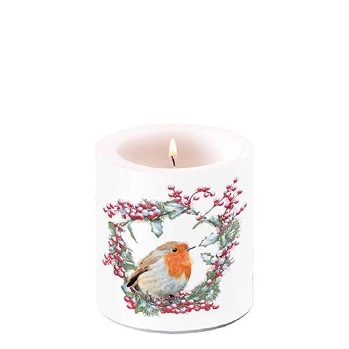 Świeca dekoracyjna mała - Robin In Wreath
