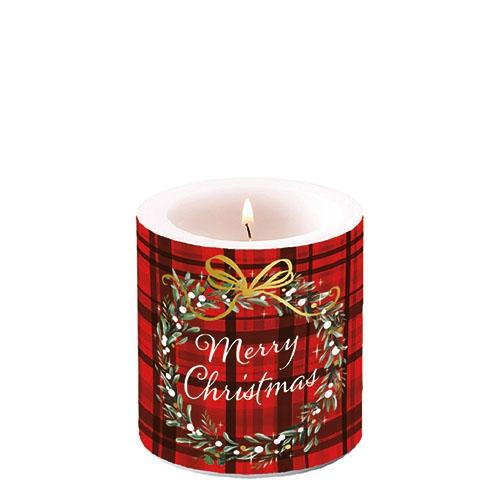 Świeca dekoracyjna mała - Christmas Plaid Red