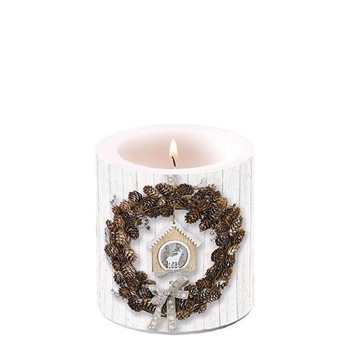 Świeca dekoracyjna mała - Pine Cone Wreath