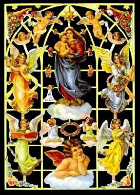 Glanzbilder mit Gold-Glimmer - Madonna mit Jesuskind