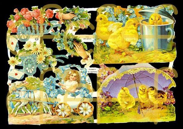 Glossy images with silver mica - Küken und Blumenkarren