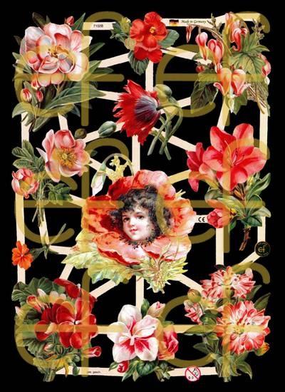 Glanzbilder mit Silber-Glimmer - Engel mit Blumen
