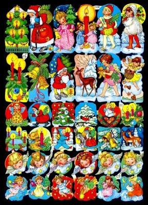 Imágenes brillantes con mica dorada - 36 verschiedene Weihnachtsbildchen