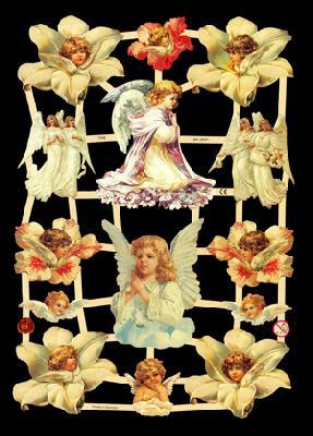 Imágenes brillantes con mica plateada - Weiße Engel, unter anderem mit Blumen