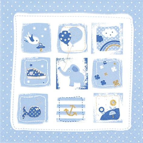 Napkins 33x33 cm - Little One blue