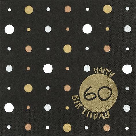 Servilletas 33x33 cm - Happy Birthday 0 gold