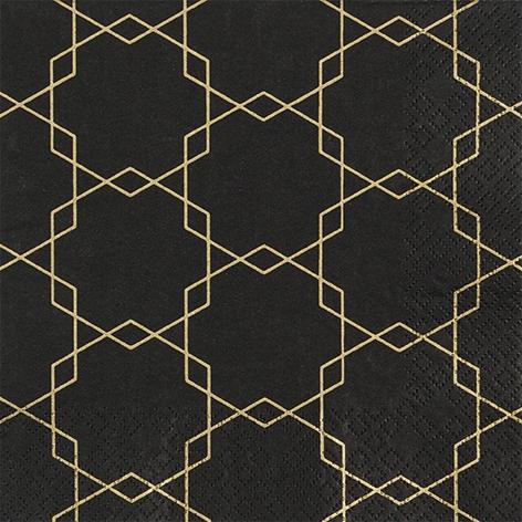 Napkins 33x33 cm - Art deco black
