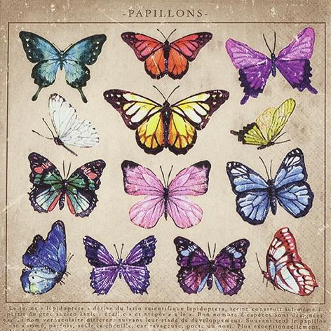 Servilletas 33x33 cm - Papillons