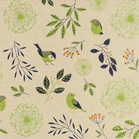 Servietten 33x33 cm - Birds and Twigs green