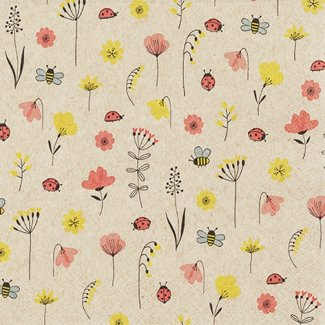 Napkins 33x33 cm - Ladybugs and Bees