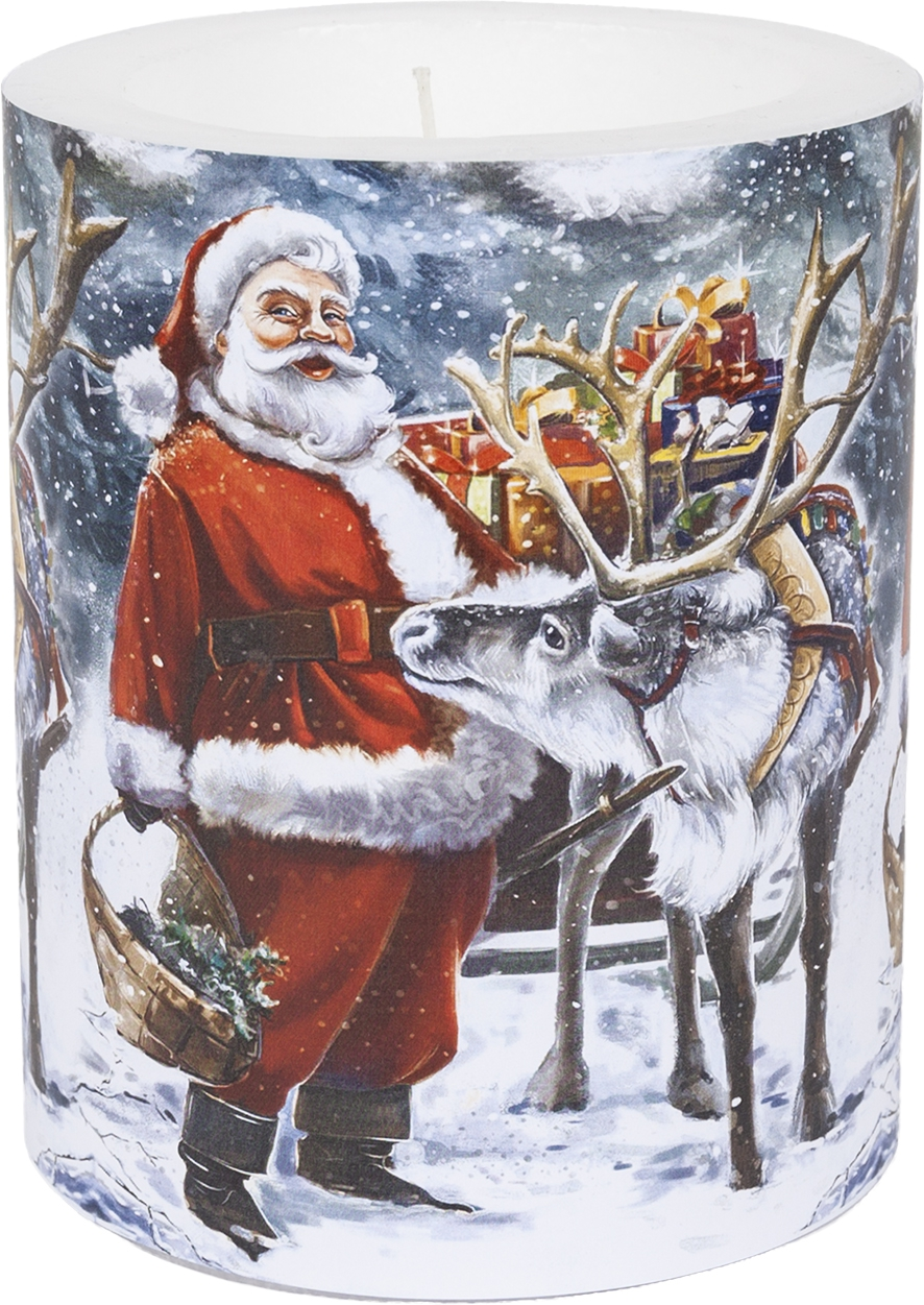 decorative candle - Santa with Reindeer 99 mm