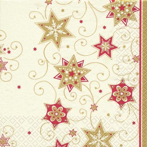 Napkins 33x33 cm - Stars & Swirls gold