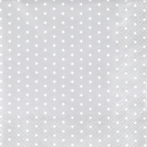 Napkins 33x33 cm - Mini Stars silver