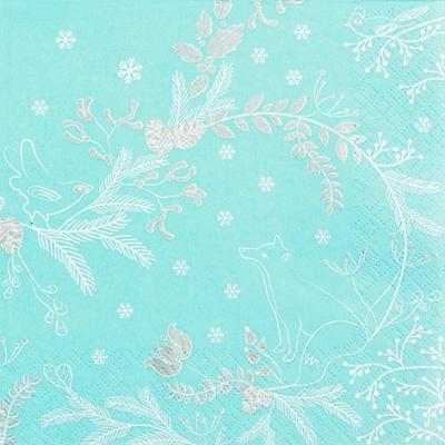 Napkins 33x33 cm - Winter Woods blue