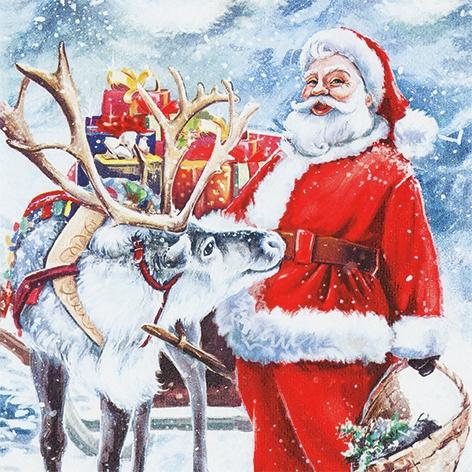 Servilletas 33x33 cm - Santa with Reindeer