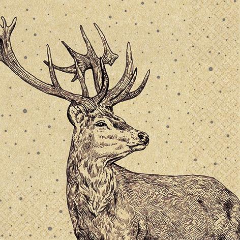 Servilletas 33x33 cm - Proud Deer
