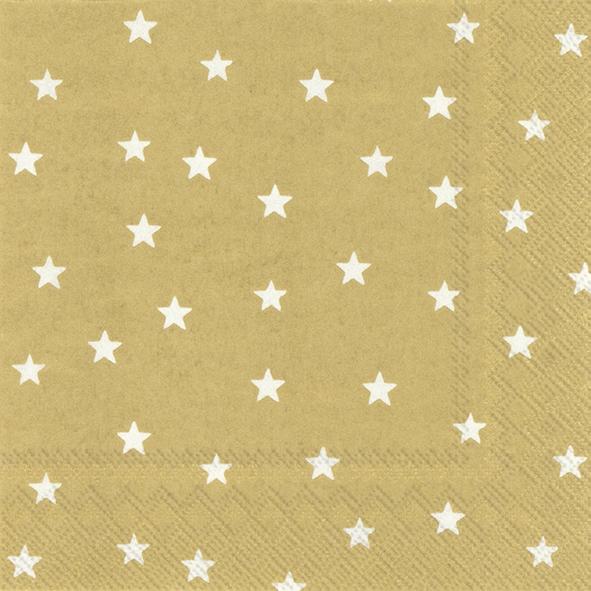 Servilletas 25x25 cm - LITTLE STARS gold white