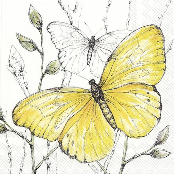 Servilletas 25x25 cm - COLOURFUL BUTTERFLIES yellow
