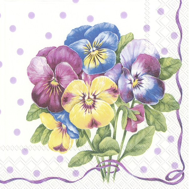 Servilletas 25x25 cm - PURPLE PANSY light lilac