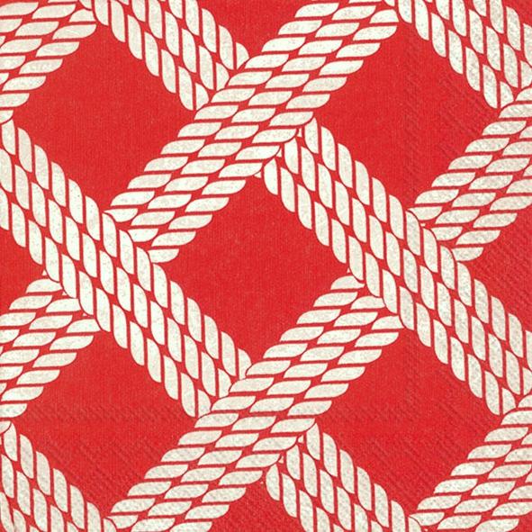Napkins 25x25 cm - SAILOR´S ROPE red