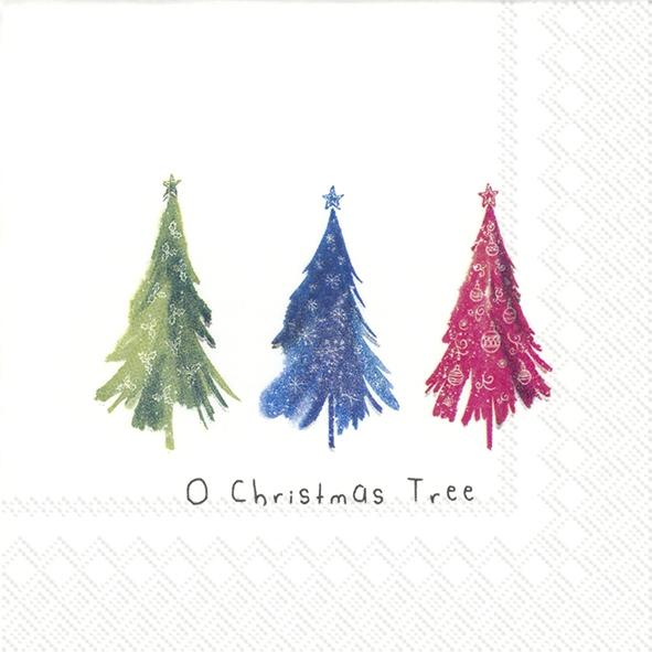 Servilletas 25x25 cm - COLOURFUL CHRISTMAS TREES