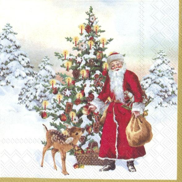 Napkins 25x25 cm - ANNUAL CHRISTMAS SANTA (V&B)