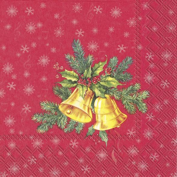 Servilletas 25x25 cm - FESTIVE CHRISTMAS BELLS red