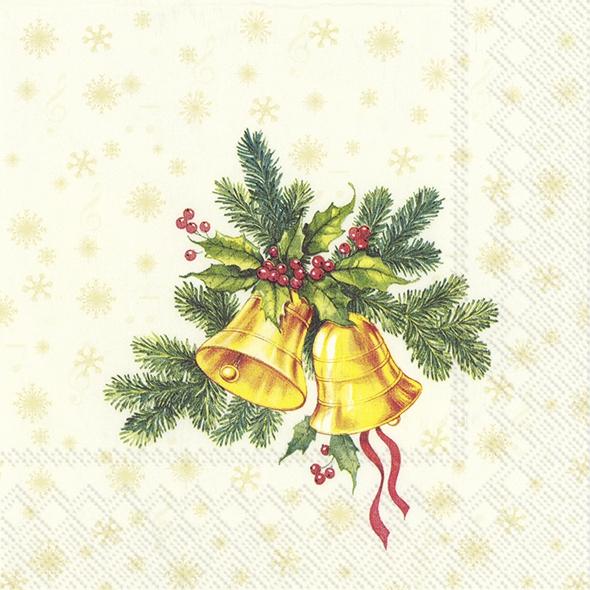 Napkins 25x25 cm - FESTIVE CHRISTMAS BELLS cream