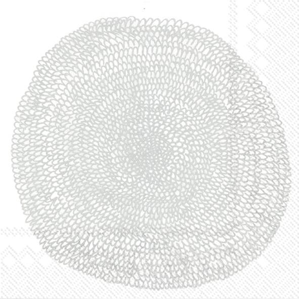Napkins 33x33 cm - PIPPURIKERÄ white silver