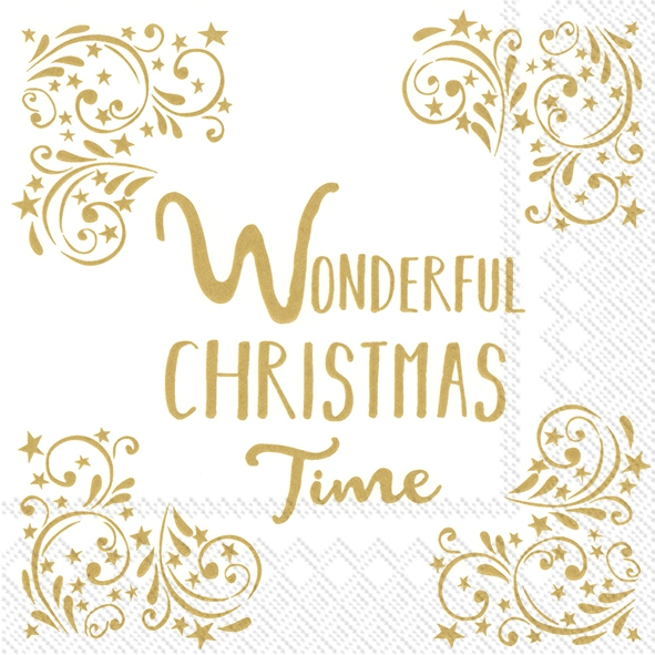 Napkins 33x33 cm - WONDERFUL CHRISTMAS TIMEw.gold