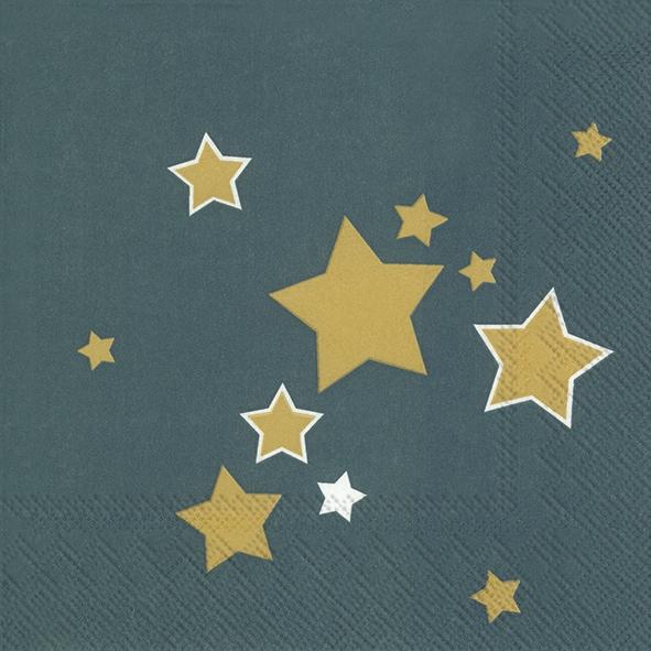 Napkins 33x33 cm - SHINY STARS petrol