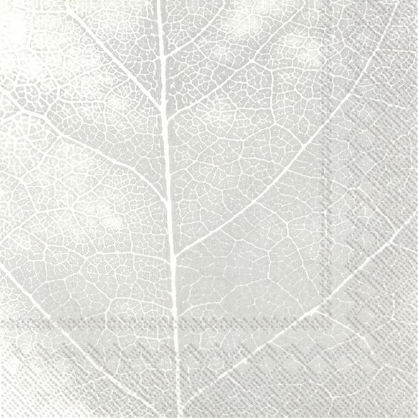 Napkins 33x33 cm - THE LEAF white silver