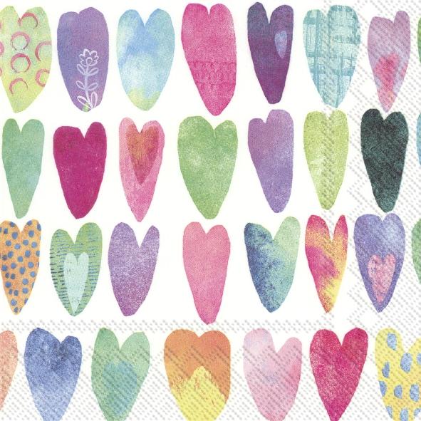 Napkins 33x33 cm - RAINBOW HEARTS
