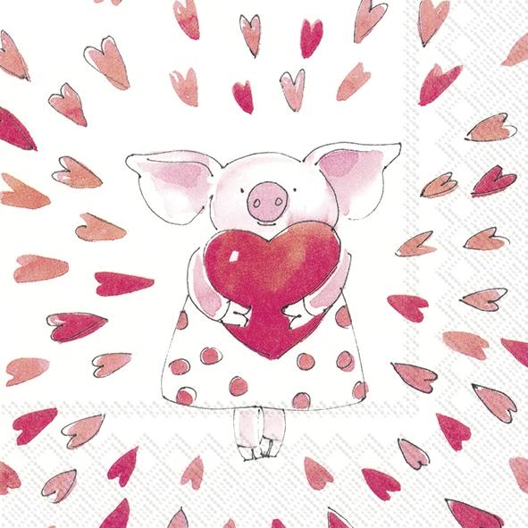 Napkins 33x33 cm - PIGGY LOVE