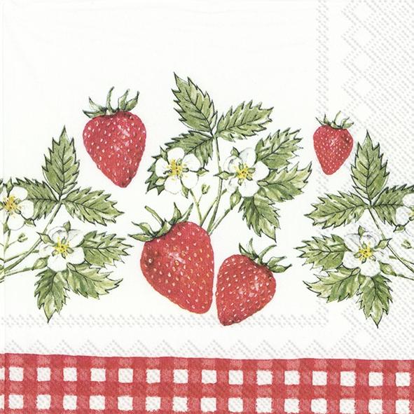 Napkins 33x33 cm - STRAWBERRIES IN LOVE