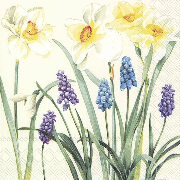 Serviettes 33x33 cm - SPRING FLOWERS cream
