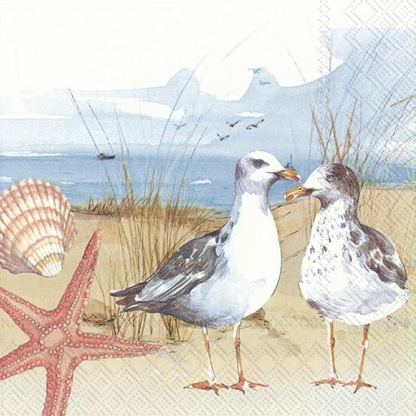 Napkins 33x33 cm - SEAGULLS AT THE BEACH