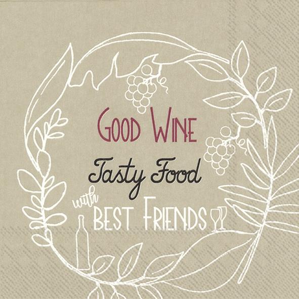 Napkins 33x33 cm - GOOD WINE TASTY FOOD linen