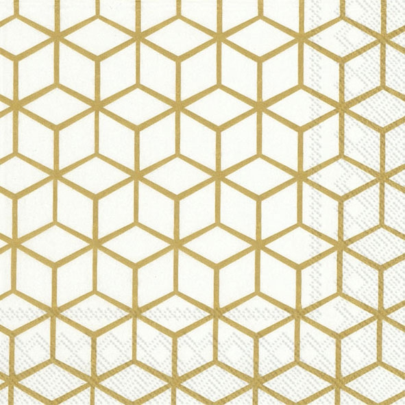 Servilletas 33x33 cm - GEOMETRY white gold