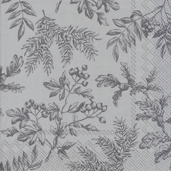 Napkins 33x33 cm - SILENTS PLANTS silver