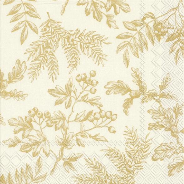 Napkins 33x33 cm - SILENTS PLANTS gold cream