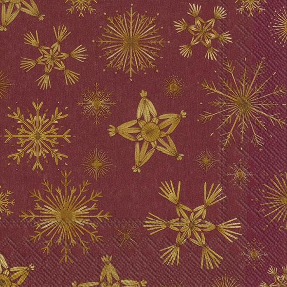 Napkins 33x33 cm - STRAW STARS red