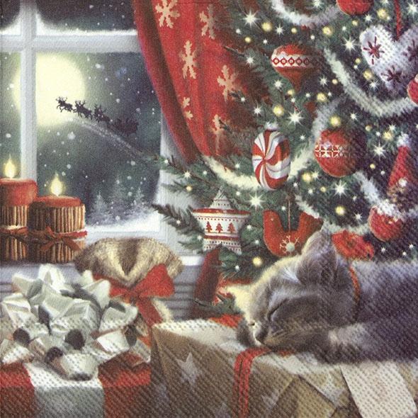 Servilletas 33x33 cm - CAT IS WAITING FOR CHRISTMAS
