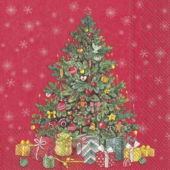 Napkins 33x33 cm - FESTIVE CHRISTMAS TREE red