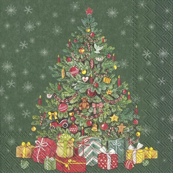 Servilletas 33x33 cm - FESTIVE CHRISTMAS TREE green