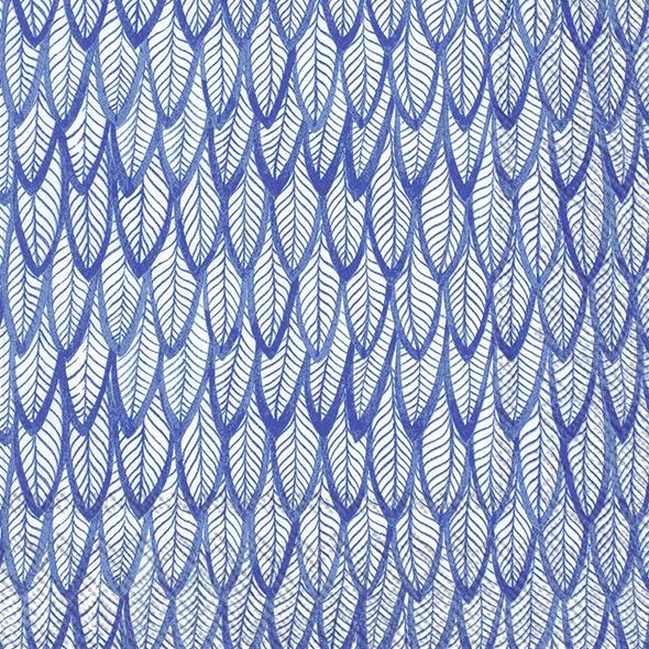 Napkins 33x33 cm - BLUE FEATHERS blue