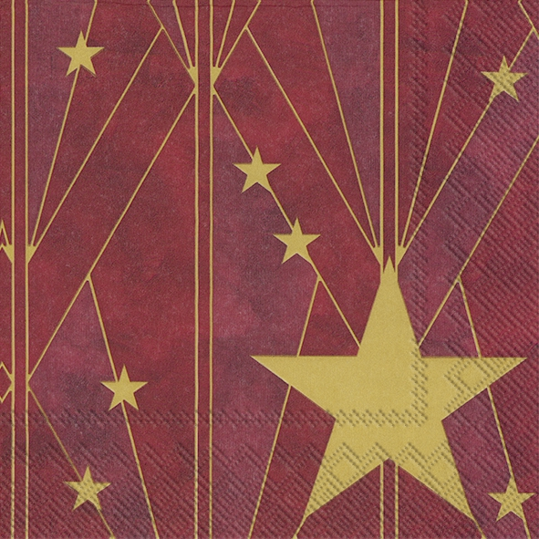 Napkins 33x33 cm - ARTDECO BIG STAR red